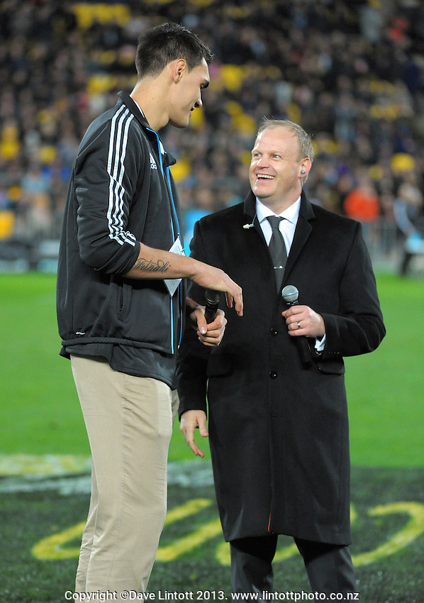 Steve Adams talks with Skysport's Andrew Mulligan during the Rugby Championship international rugby Bledisloe Cup test match between All Blacks and Australia at Westpac Stadium, Wellington, New Zealand on Saturday, 24 August 2013. Photo: Dave Lintott / lintottphoto.co.nz