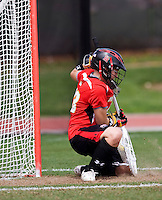 Brittany Dipper (43) of Maryland stops a shot during the ACC women's lacrosse tournament finals in College Park, MD.  Maryland defeated North Carolina, 10-5.