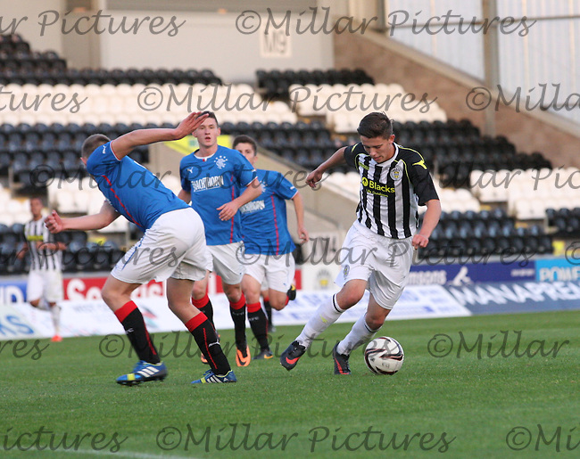 Jordan Stewart turning Greg Pascazio in the St Mirren v Rangers Scottish Professional Football League Under 20 match played at St Mirren Park, Paisley on 10.9.13.