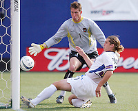 MetroStars' goalkeeper Jonny Walker dodged a bullet as the Earthquake's Tighe Dombrowski's point blank shot hits off the post. The San Jose Earthquakes were shut out by  the NY/NJ MetroStars 2-0 at Giant's Stadium, East Rutherford, NJ, on July 10, 2004.