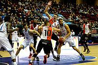 GRONINGEN - Basketbal, Donar - Feyenoord, Eredivisie, seizoen 2019-2020, 10-11-2019, Donar speler Thomas Koenis in duel met Michoel Kok