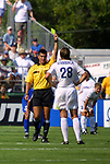 24 August 2002: Referee Ricardo Salazar gives a yellow card to Abby Wambach (28) in the 41st minute. The Carolina Courage defeated the Washington Freedom 3-2 the WUSA Founders Cup II championship game played at Herndon Stadium in Atlanta, GA.<br /> Mandatory Credit: Andy Mead