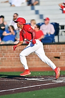 Johnson City Cardinals Jhon Torres (22) runs to first base during game two of the Appalachian League, West Division Playoffs against the Bristol Pirates at TVA Credit Union Ballpark on August 31, 2019 in Johnson City, Tennessee. The Cardinals defeated the Pirates 7-4 to even the series at 1-1. (Tony Farlow/Four Seam Images)