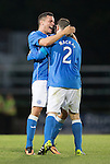 St Johnstone v FC Spartak Trnava...31.07.14  Europa League 3rd Round Qualifier<br /> Gary Miller celebrates with scorer Dave Mackay<br /> Picture by Graeme Hart.<br /> Copyright Perthshire Picture Agency<br /> Tel: 01738 623350  Mobile: 07990 594431