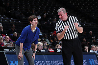 WINSTON-SALEM, NC - FEBRUARY 06: Head coach Muffet McGraw of the University of Notre Dame talks with official Mark Hardcastle during a game between Notre Dame and Wake Forest at Lawrence Joel Veterans Memorial Coliseum on February 06, 2020 in Winston-Salem, North Carolina.