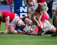 England Women's Hannah Botterman celebrates after scoring a try<br /> <br /> Photographer Bob Bradford/CameraSport<br /> <br /> 2020 Women's Six Nations Championship - England v Wales - Saturday 7th March 2020 - The Stoop - London<br /> <br /> World Copyright © 2020 CameraSport. All rights reserved. 43 Linden Ave. Countesthorpe. Leicester. England. LE8 5PG - Tel: +44 (0) 116 277 4147 - admin@camerasport.com - www.camerasport.com