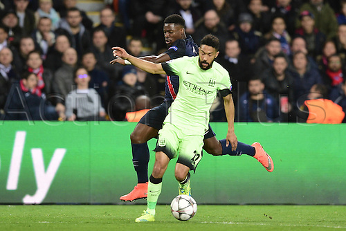 06.04.2016. Paris, France. UEFA CHampions League, quarter-final. Paris St Germain  versus Manchester City.  Serge Aurier (PSG) beaten by Gael Clichy (Manchester City)