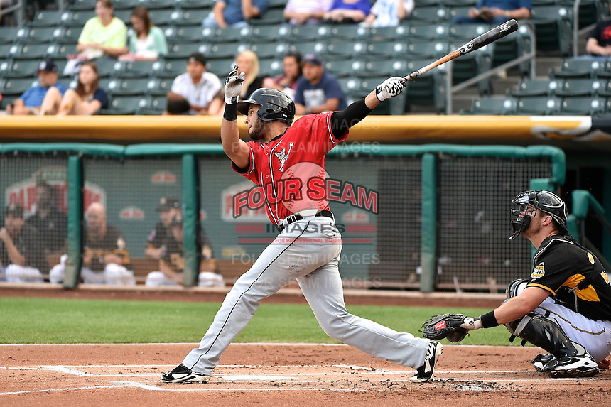 Jonathan Galvez (44) of the El Paso Chihuahuas at bat against the Salt Lake Bees in Pacific Coast League action at Smith's Ballpark on August 7, 2014 in Salt Lake City, Utah.  (Stephen Smith/Four Seam Images)