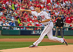 7 October 2016: Washington Nationals starting pitcher Max Scherzer opens the Post Season for the Nationals in the first game of the NLDS against the Los Angeles Dodgers at Nationals Park in Washington, DC. The Dodgers edged out the Nationals 4-3 to take the opening game of their best-of-five series. Mandatory Credit: Ed Wolfstein Photo *** RAW (NEF) Image File Available ***