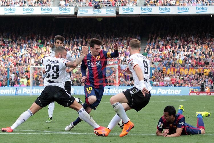 League BBVA 2014/2015. Game: 32.<br /> FC Barcelona vs Valencia CF: 2-0.<br /> Otamendi, Lionel Messi, Mustafi &amp; Pedro Rodriguez.