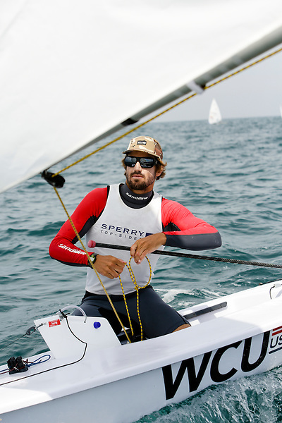 SANTANDER, SPAIN - SEPTEMBER 14:  Laser - USA182345 - Charlie Buckingham in action during Day 3 of the 2014 ISAF Sailing World Championships on September 14, 2014 in Santander, Spain.  (Photo by MickAnderson/SAILINGPIX via Getty Images)