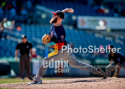 22 July 2018: Louisville Bats pitcher Kevin Quackenbush on the mound against the Syracuse SkyChiefs at NBT Bank Stadium in Syracuse, NY. The Bats defeated the Chiefs 3-1 in AAA International League play. Mandatory Credit: Ed Wolfstein Photo *** RAW (NEF) Image File Available ***