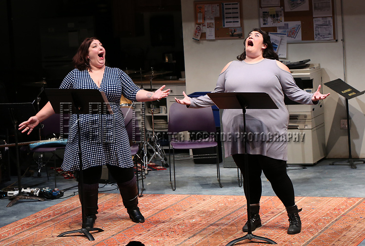 "Ashlie Atkinson and Nicole Spiezio ""Three Fat Sisters"" during the 2018 Presentation of New Works by the DGF Fellows on October 15, 2018 at the Playwrights Horizons Theatre in New York City."