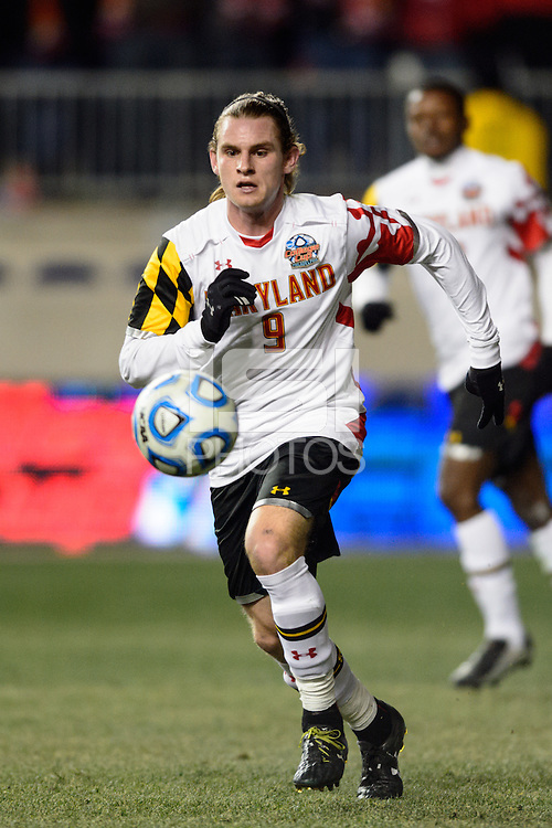 Maryland Terrapins midfielder Alex Shinsky (9). The Maryland Terrapins defeated Virginia Cavaliers 2-1 during the semifinals of the 2013 NCAA division 1 men's soccer College Cup at PPL Park in Chester, PA, on December 13, 2013.