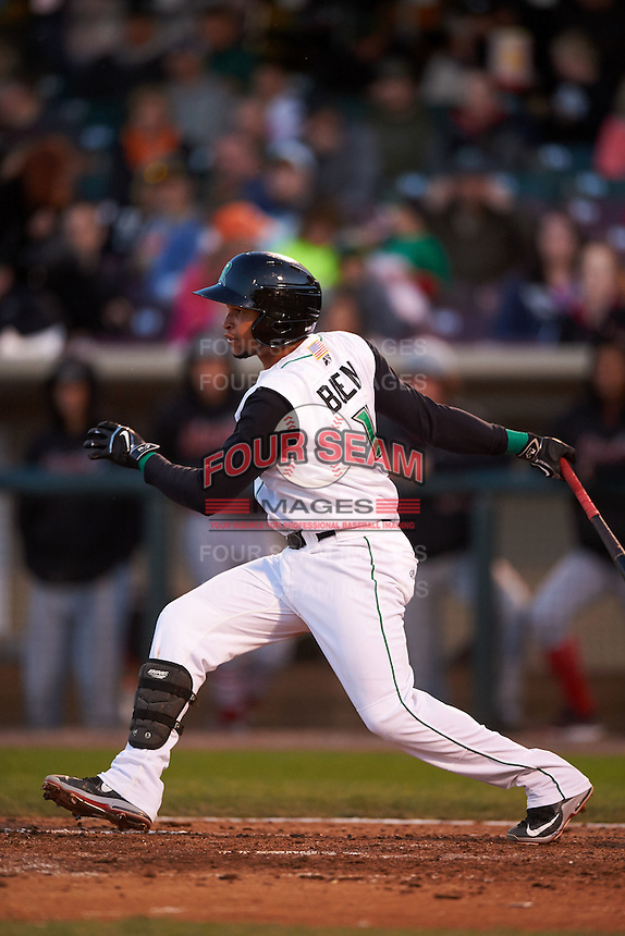 Dayton Dragons second baseman Ronald Bueno (4) at bat during a game against the Great Lakes Loons on May 21, 2015 at Fifth Third Field in Dayton, Ohio.  Great Lakes defeated Dayton 4-3.  (Mike Janes/Four Seam Images)
