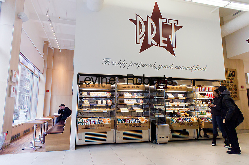 A branch of the Pret A Manger sandwich chain in Lower Manhattan in New York on Saturday, February 11, 2012. (© Richard B. Levine)