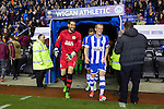 Wigan Athletic 1 Rubin Kazan 1, 24/10/2013. DW Stadium, Europa League Group D. Wigan Athletic embark on their first European campaign having won the FA Cup the previous season. The DW Stadium is temporarily known as The Wigan Athletic Stadium for Europa League fixtures. Wigan's Scott Carson and Ben Watson come out for the second half. Photo by Paul Thompson.