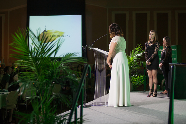 Erin McMahon is presented the Kerrigan Family Scholarship at the 34th Annual Leadership Awards Gala in Baker Ballroom on Wednesday, April 5, 2017. Photo by Kaitlin Owens