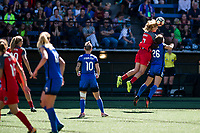 Seattle, WA - Saturday August 26, 2017: Lindsey Horan, Madeline Bauer during a regular season National Women's Soccer League (NWSL) match between the Seattle Reign FC and the Portland Thorns FC at Memorial Stadium.