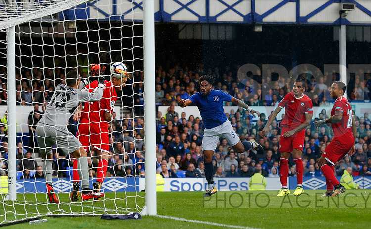 Everton's Ashley Williams headers at goal during the pre season friendly match at Goodison Park Stadium, Liverpool. Picture date 6th August 2017. Picture credit should read: Paul Thomas/Sportimage
