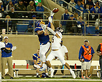 BROOKINGS, SD - SEPTEMBER 24:  Dallas Goedert #86 from South Dakota State University reaches back to make a one handed catch over Adam Brott #35 from Western Illinois in the second half of their game Saturday evening at Dana J. Dykhouse Stadium in Brookings. (Photo by Dave Eggen/Inertia)
