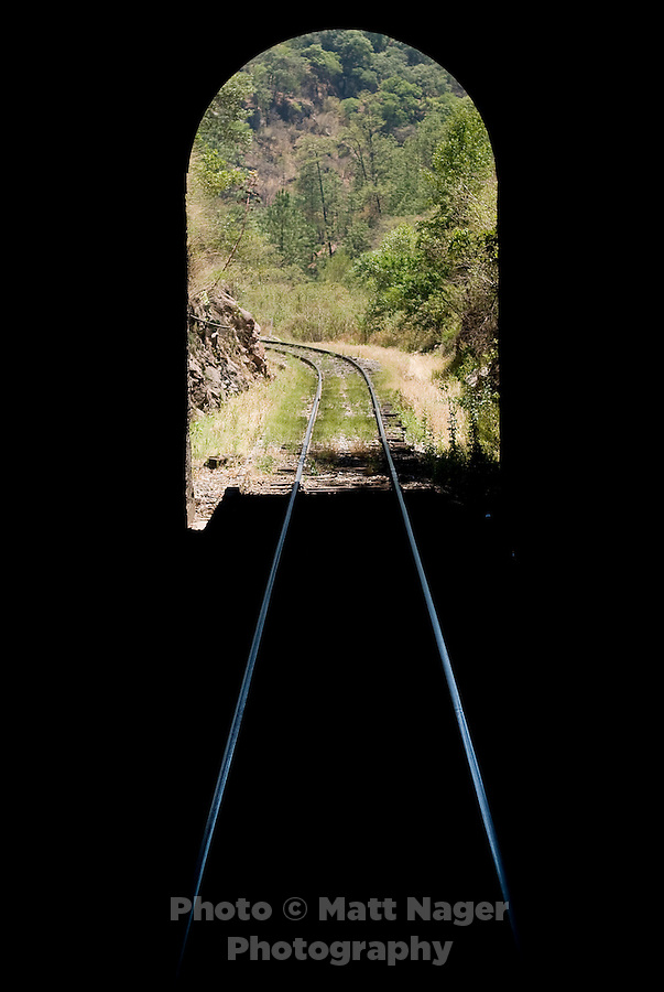 The train on a trip through Barranca del Cobre (Copper Canyon) using the last passenger train in Mexico passes through a tunnel, Thursday, June 19, 2008. The first departing train leaves Los Mochis at 6AM and will make eight stops along the route which passes over 408 miles of railroad tracks, through 86 tunnels and over 37 bridges on its voyage...PHOTOS/ MATT NAGER