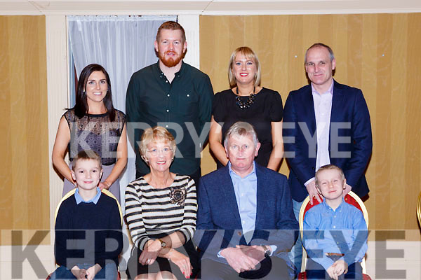 Denis O'Brien Firies celebrated his retirement from Liebherr after 49years service in Killarney Avenue Hotel on Friday night front row l-r: Liam Harmon, Joan and Denis O'Brien, Shane Harmon. Back row: Linda Spillane, Niall O'Brien, Norma and William Harmon