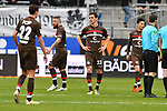 16.03.2019, BWT-Stadion am Hardtwald, Sandhausen, GER, 2. FBL, SV Sandhausen vs FC St. Pauli, <br /> <br /> DFL REGULATIONS PROHIBIT ANY USE OF PHOTOGRAPHS AS IMAGE SEQUENCES AND/OR QUASI-VIDEO.<br /> <br /> im Bild: Frust bei Justin Hoogma (FC St. Pauli #22), Johannes Flum (FC St. Pauli #23), Marvin Knoll (FC St. Pauli #5), Ryo Miyaichi (FC St. Pauli #12)<br /> <br /> Foto © nordphoto / Fabisch