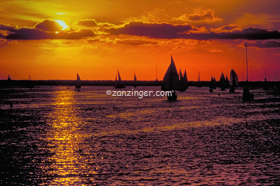 Marina Del Rey, CA, USA, Channel, Sunset, Sailboats, Yachts, Silhouette, Beautiful