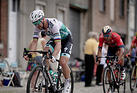 Peter Sagan (SVK/Bora-Hansgrohe) leading over the cobbles, ahead of Sonny Colbrelli (ITA/Bahrain-Merida) & Greg Van Avermaet (BEL/CCC)<br /> <br /> Stage 1: Brussels to Brussels(BEL/192km) 106th Tour de France 2019 (2.UWT)<br /> <br /> ©kramon