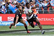 2nd February 2019, Spotless Stadium, Sydney, Australia; HSBC Sydney Rugby Sevens; England versus Fiji; Aminiasi Tuimaba of Fiji runs to the try line as Tom Mitchell of England tries to catch him