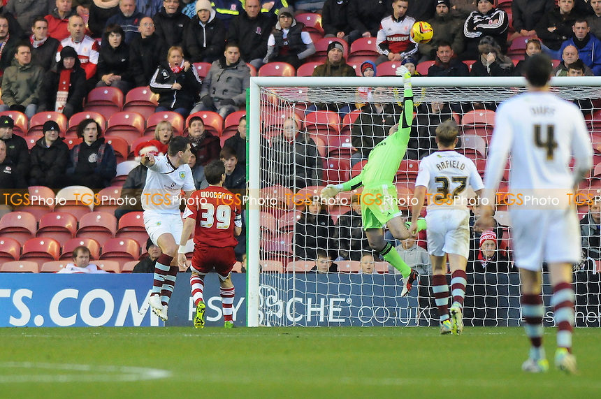 Shay Given of Middlesbrough saves from Sam Vokes of Burnley - Middlesbrough vs Burnley - Sky Bet Championship Football at the Riverside Stadium, Middlesbrough - 26/12/13 - MANDATORY CREDIT: Steven White/TGSPHOTO - Self billing applies where appropriate - 0845 094 6026 - contact@tgsphoto.co.uk - NO UNPAID USE