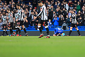 2nd December 2017, Stamford Bridge, London, England; EPL Premier League football, Chelsea versus Newcastle United; Alvaro Morata of Chelsea goes down injured as the Newcastle players walk past him
