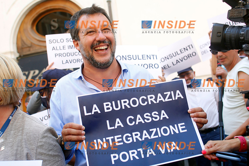 The Italian leader of the Lega party Matteo Salvini during demonstration of labour consultants against the Government in Montecitorio Square. Rome (Italy), July 29th 2020<br /> Photo Samantha Zucchi Insidefoto