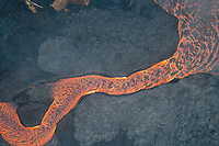 May 2018: An aerial view of an enormous lava river in the Puna district, Big Island of Hawai'i; it originated in Leilani Estates in another part of Puna.