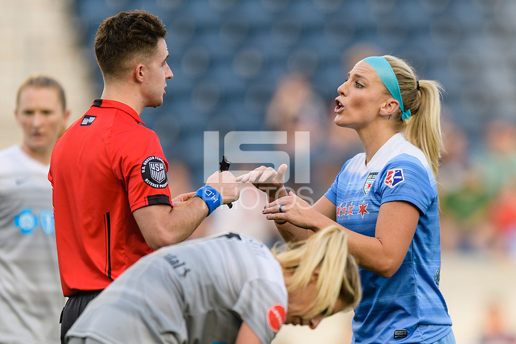 Bridgeview, IL - Sunday September 03, 2017: Lukas Szpala, Julie Ertz during a regular season National Women's Soccer League (NWSL) match between the Chicago Red Stars and the North Carolina Courage at Toyota Park. The Red Stars won 2-1.