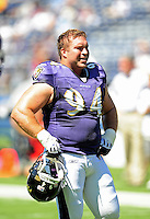 Sep. 20, 2009; San Diego, CA, USA; Baltimore Ravens defensive tackle (94) Justin Bannan against the San Diego Chargers at Qualcomm Stadium in San Diego. Baltimore defeated San Diego 31-26. Mandatory Credit: Mark J. Rebilas-