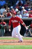 Philadelphia Phillies catcher Tommy Joseph (73) during an exhibition game against the University of Tampa on March 1, 2015 at Bright House Field in Clearwater, Florida.  University of Tampa defeated Philadelphia 6-2.  (Mike Janes/Four Seam Images)