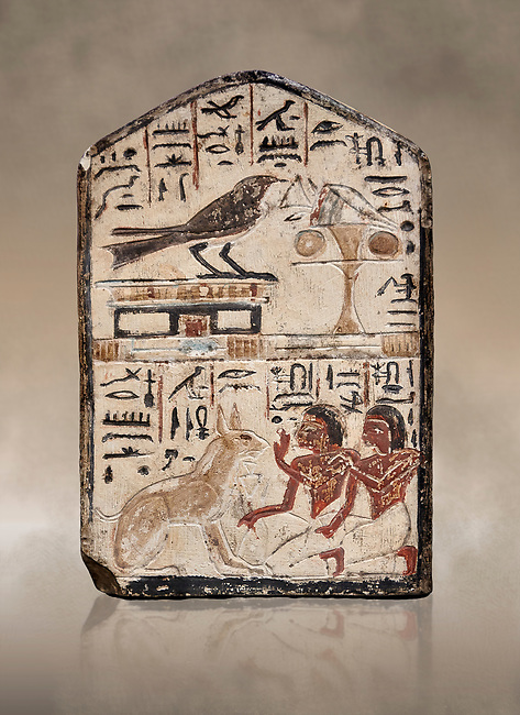 """Ancient Egyptian stele didicated to the swallow and cat by Nebra, limestone, New Kingdom, 19th Dynasty, (1292-1190 BC), Deir el-Medina, Egyptian Museum, Turin. . Drovetti Cat No 1591.<br /> <br /> In the top register of this votive stele a swallow  (Hirundinidae) is shown perched on top of a shrine. An offering table is placed in front of it on the right side. The bird is called """"the good swallow"""". In the lower register Nakhamun and Khay, Nebre's two sons, kneel in adoration in front of a large cat. They both hold a bouquet in their right hand, the left hand is raised in adoration before the good cat"""" (Houlihan,1996,87). The swallow and the cat both represent two minor deities, Menet and Tamit, who are  closely connected with the region of the Theban necropolis. It is unusual that this stele has been dedicated by Nebre, the royal craftsman, without him being depicted."""