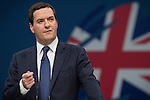 © Joel Goodman - 07973 332324 . No syndication permitted . 30/09/2013 . Manchester , UK . The British Chancellor of the Exchequer , GEORGE OSBORNE , addresses the conference this afternoon (Monday 30th September 2013) . Day 2 of the Conservative Party Conference 2013 at Manchester Central . Photo credit : Joel Goodman