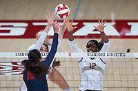 STANFORD, CA - October 14, 2016: Audriana Fitzmorris,Inky Ajanaku at Maples Pavilion. The Arizona Wildcats defeated the Cardinal 3-1.