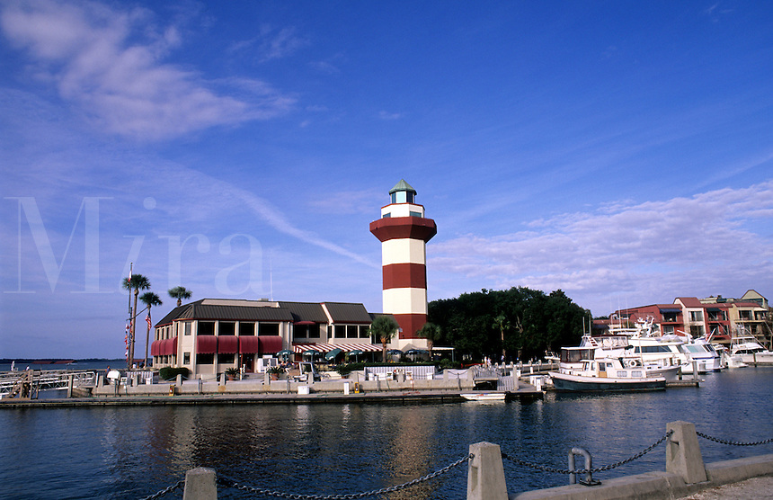 Harbour with historic lighthouse in Hilton Head, South Carolina, USA