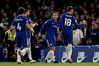 Eden Hazard celebrates scoring Chelsea's opening goal  with Olivier Giroud during Chelsea vs West Bromwich Albion, Premier League Football at Stamford Bridge on 12th February 2018