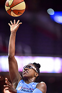 Washington, DC - July 13, 2018: Chicago Sky guard Diamond DeShields (1) goes up for a lay up during game between the Washington Mystics and Chicago Sky at the Capital One Arena in Washington, DC. The Mystics defeat the Sky 88-72 (Photo by Phil Peters/Media Images International)