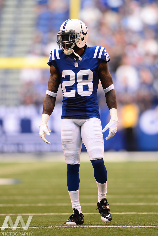 Sep 28, 2014; Indianapolis, IN, USA; Indianapolis Colts cornerback Greg Toler (28) against the Tennessee Titans at Lucas Oil Stadium. Mandatory Credit: Andrew Weber-USA TODAY Sports