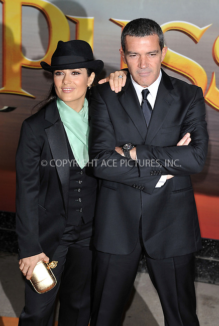WWW.ACEPIXS.COM . . . . .  ..... . . . . US SALES ONLY . . . . .....November 24 2011, London....Salma Hayek and Antonio Banderas at the premiere of 'Puss In Boots' held at the Empire Leicester Square on November 24 2011 in London ....Please byline: FAMOUS-ACE PICTURES... . . . .  ....Ace Pictures, Inc:  ..Tel: (212) 243-8787..e-mail: info@acepixs.com..web: http://www.acepixs.com