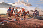 Cowboys riding through the Texas oilfields and crossing the railroad tracks in front of a steam train, circa 1935, oil on canvas, 24x36.