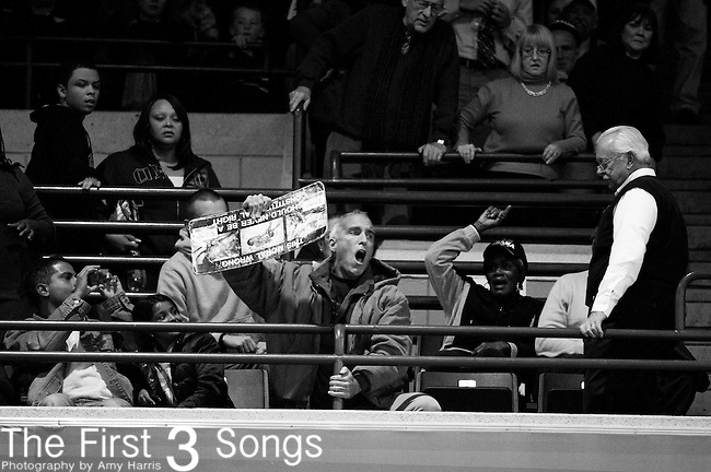 A protester disrupts a campaign ralley at Fifth Third Arena on the campus of the University of Cincinnati for U.S. President Barack Obama on November 4, 2012 in Cincinnati, Ohio.