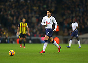 30th January 2019, Wembley Stadium, London England; EPL Premier League football, Tottenham Hotspur versus Watford; Son Heung-Min of Tottenham Hotspur passing the ball into midfield