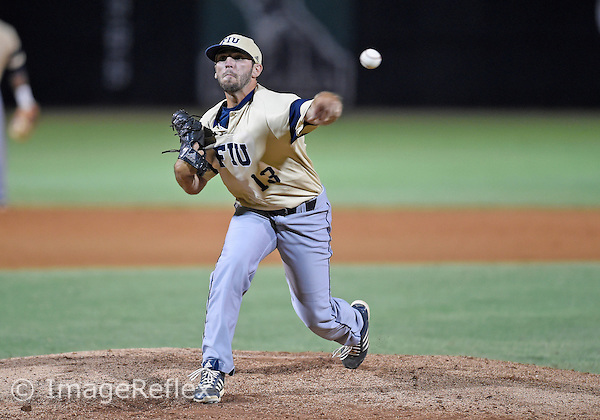 29 May 2015: Florida International University left handed pitcher Charles Cormier (13) pitches against the University of Miami at Alex Rodriguez Park at Mark Light Field, Coral Gables, Florida, in Miami's 6-2 victory, in the first round of the NCAA Coral Gables Regional.